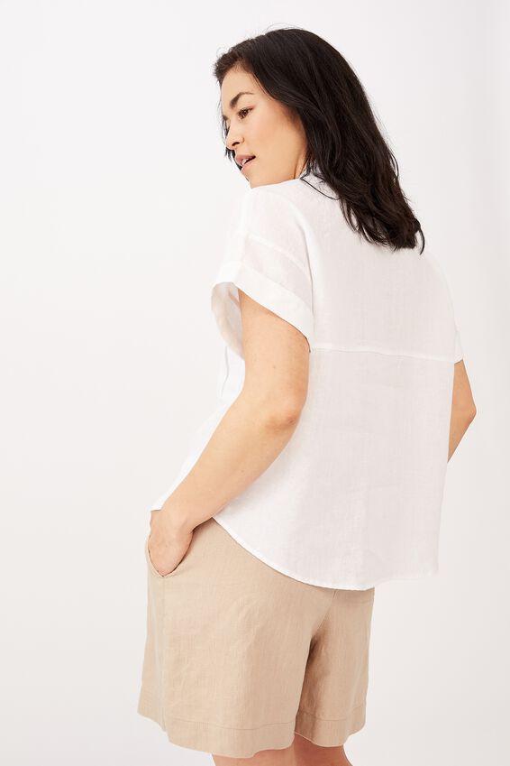 Emma Hawkins X Linen Short Sleeve Shirt, WHITE