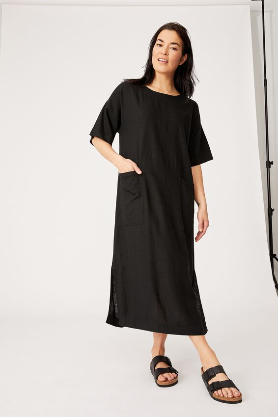 Linen Blend Midi Pocket Dress, BLACK