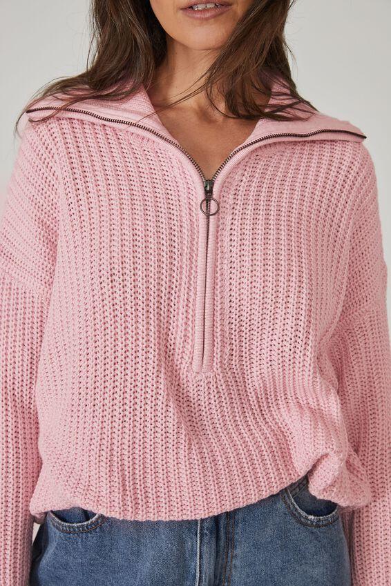Australian Cotton Knit Slouch Zip Sweater, PALE PINK MARLE