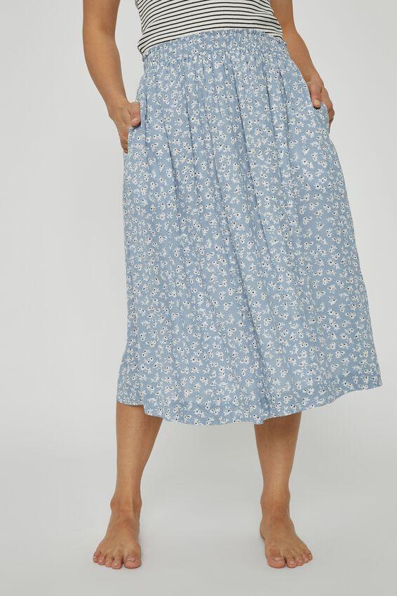 Trash To Treasured X Midi Skirt, CORNFLOWER BLUE WHITE FLORAL