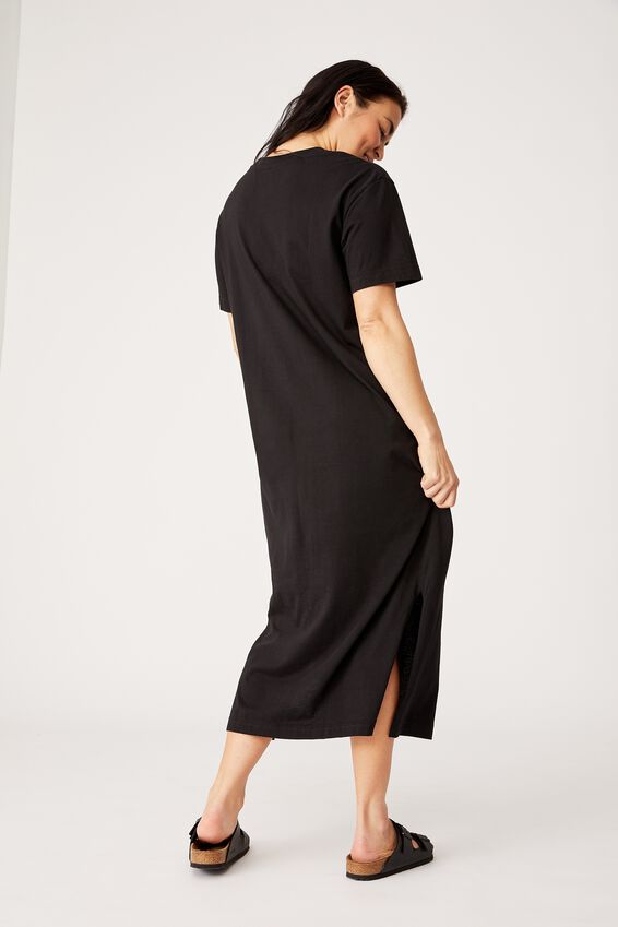 Organic Daily Tee Dress, BLACK
