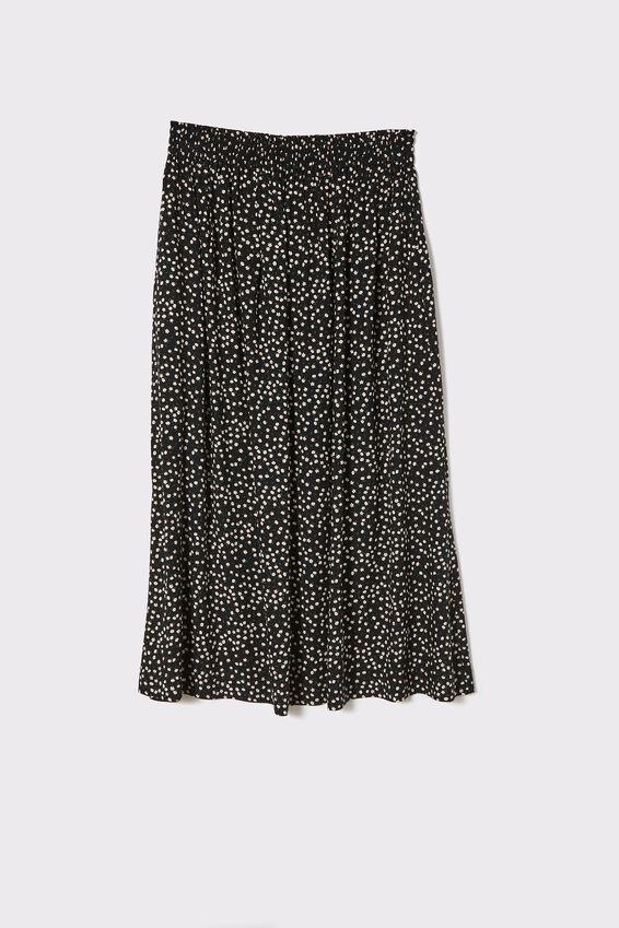 Fleur Midi Skirt, BLACK DITSY FLORAL