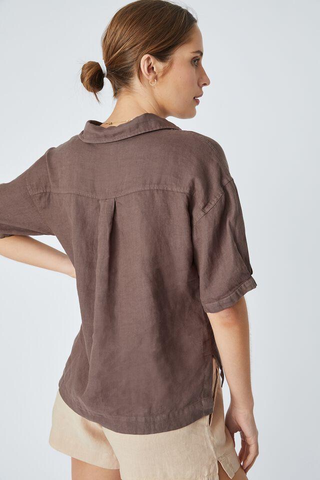 Linen Relaxed Ss Shirt, BITTER CHOC