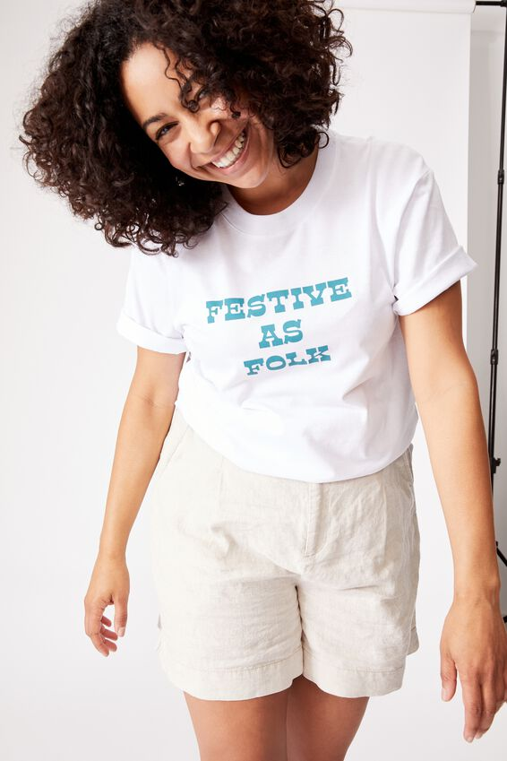 Organic Oversized Daily Printed Step Hem Tee, WHITE/FESTIVE AS FOLK