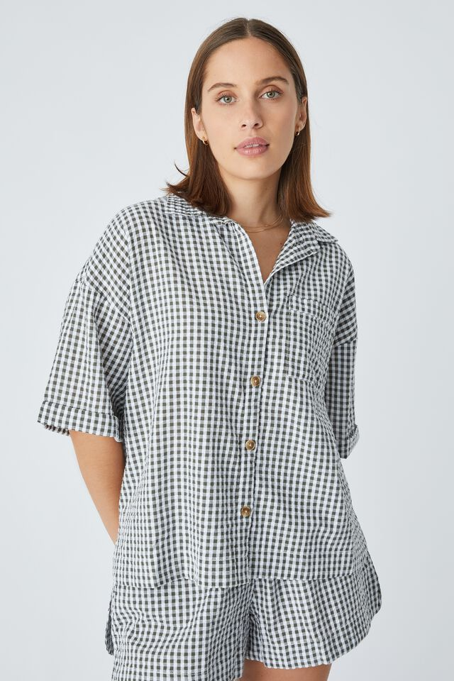 Relaxed Short Sleeve Shirt In Rescued Fabric, LEAD GINGHAM
