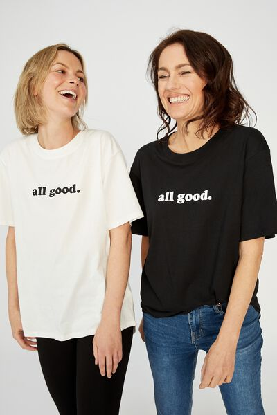 The Daily Print Tee, WHITE/ALL GOOD
