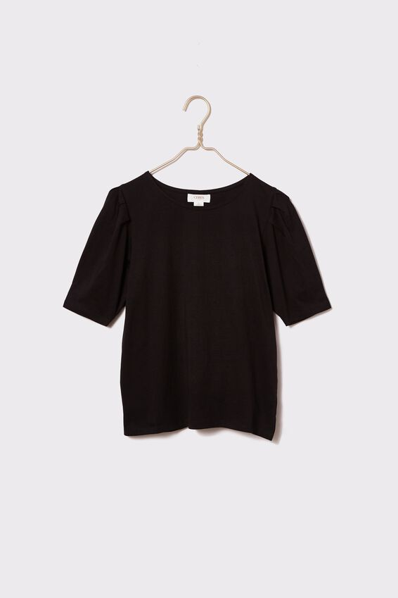 Organic Cotton Puff Sleeve Tee, BLACK