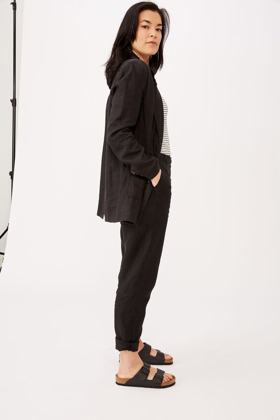 Relaxed Linen Pant, BLACK