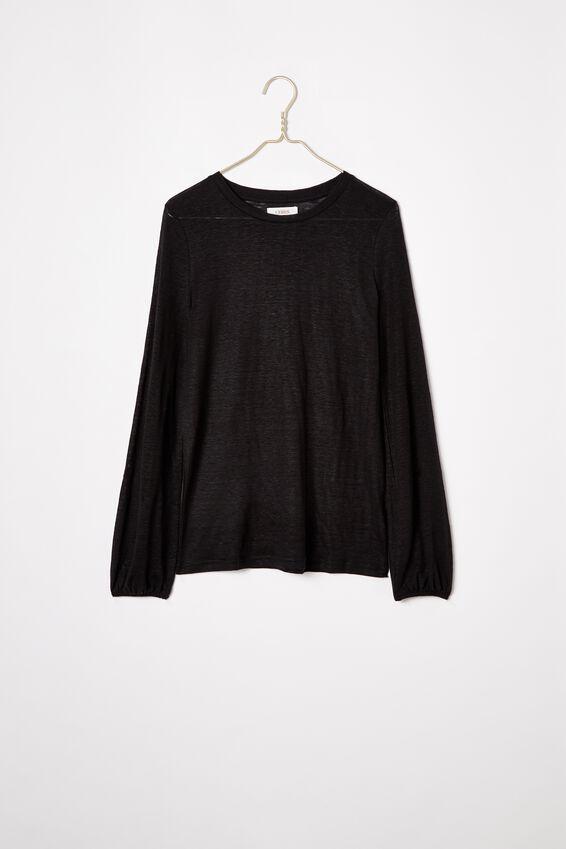 Linen Bell Sleeve Tee, BLACK