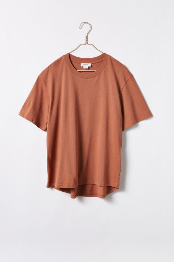 Organic Daily Curved Hem Tee, RUST