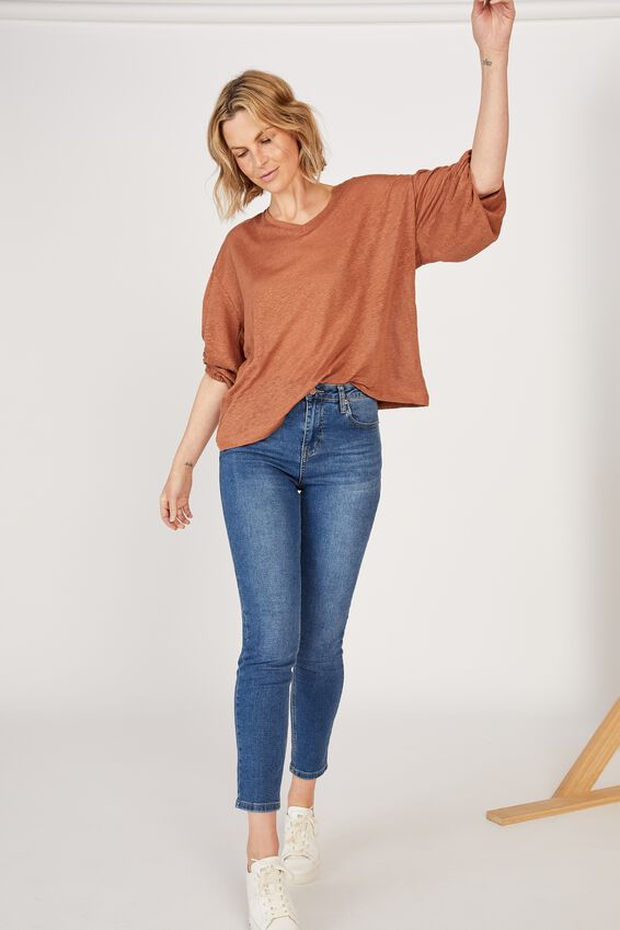Linen Balloon Sleeve Tee, RUST