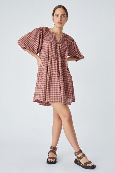 Shirred Puff Sleeve Mini Dress In Organic Gingham, SPICED PINK CLOVE CHECK