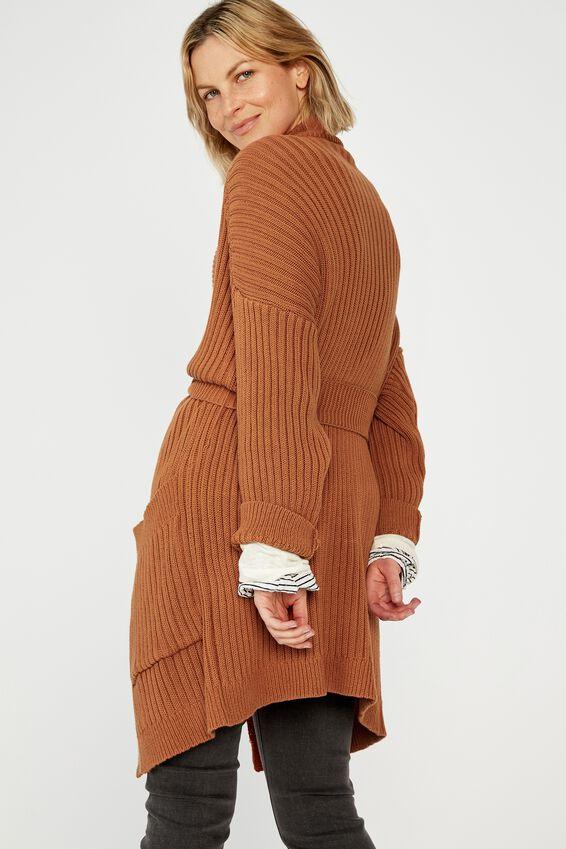 Belted Wrap Cardigan, TAN