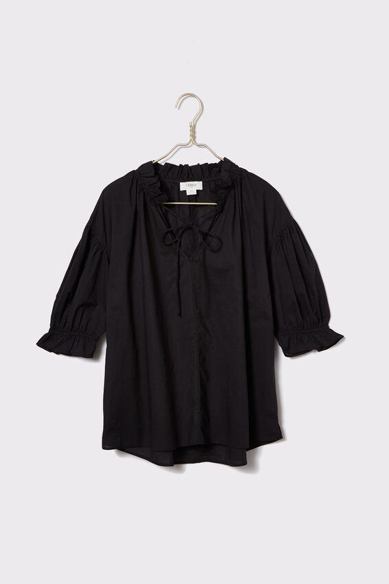 Ruffle Neck Tunic, BLACK