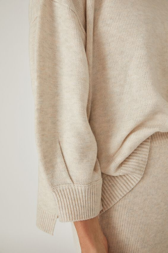 Soft Oversized Split Hem Jumper, oatmeal marle