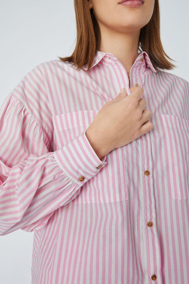Oversized Gathered Shirt In Organic Poplin, SUMMER PINK STRIPE