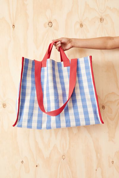 Oversized Gingham Tote Bag, BLUE CHECK