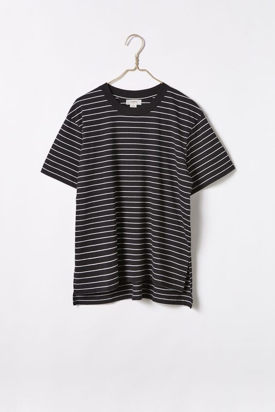 Organic Oversized Daily Step Hem Tee, BLACK WHITE STRIPE