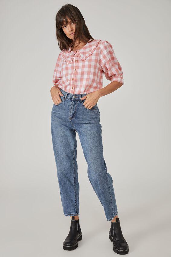 Sloane Frill Collar Short Sleeve Shirt, PINK GINGHAM CHECK