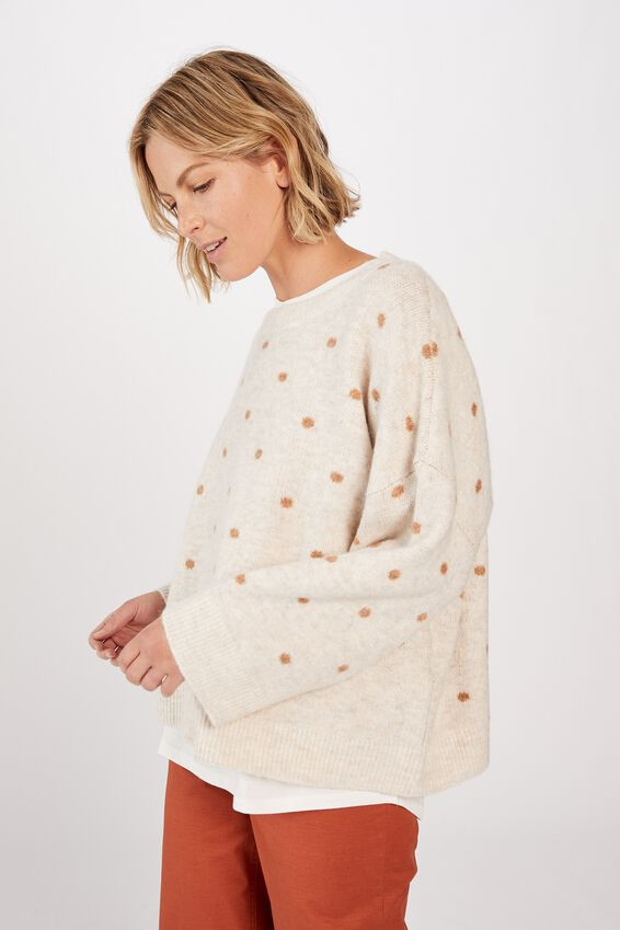 Oversized Spot Jumper, OATMEAL/TAN