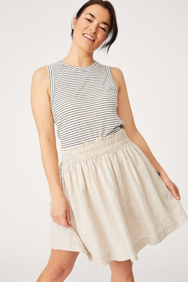 Linen Mini Skirt, PEBBLE