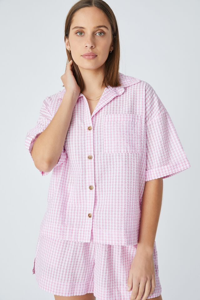 Relaxed Short Sleeve Shirt In Rescued Fabric, SUMMER PINK GINGHAM