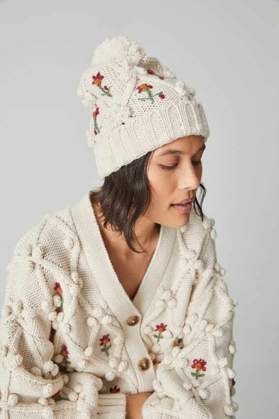 Cottage Bobble Beanie, STONE COTTAGE FLORAL