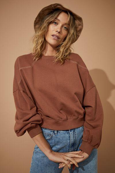 Organic Western Sweater, RUST / ECRU