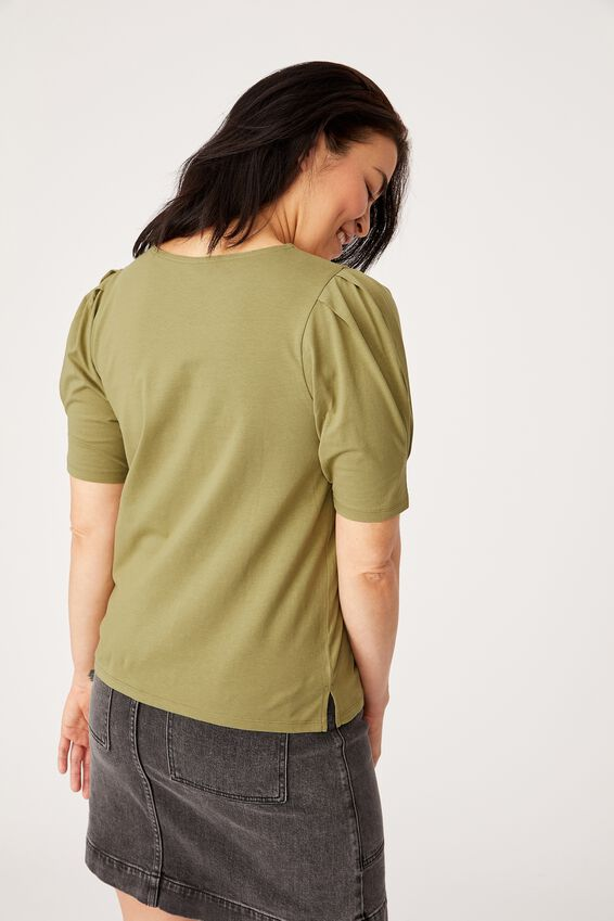 Organic Cotton Puff Sleeve Tee, DILL
