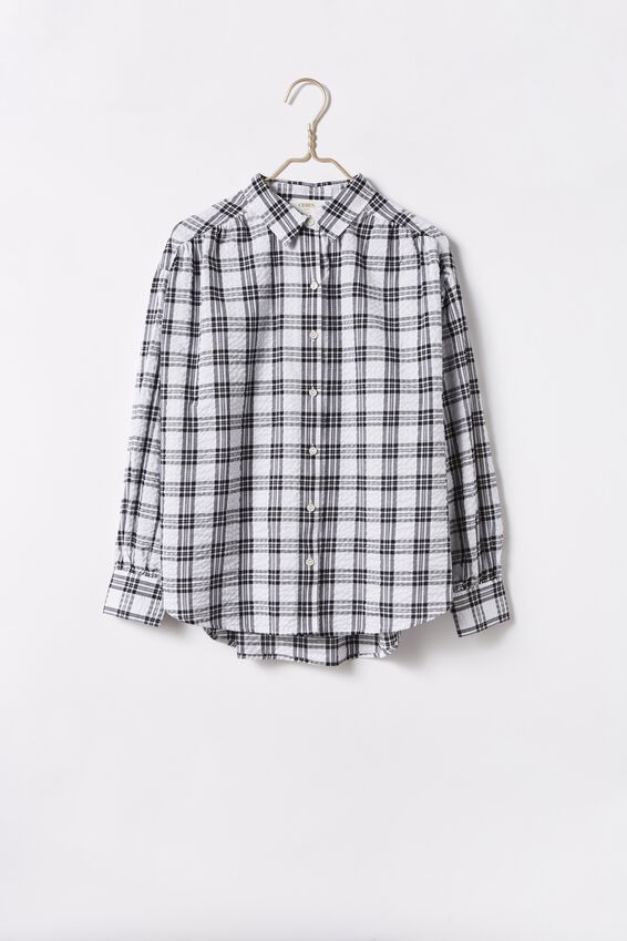 Classic Gathered Sleeve Shirt, CHECK