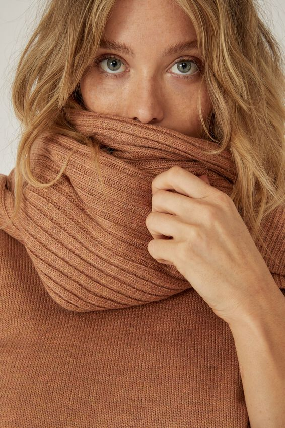 Soft Yarn Scarf, TAN MARLE