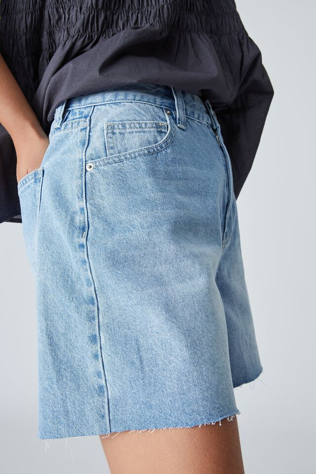 Denim Short With Recycled Cotton, LIGHT VINTAGE WASH