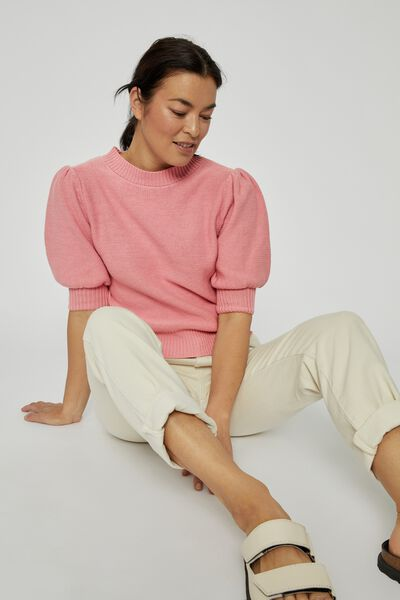 Australian Cotton Short Puff Sleeve Knit, WASHED PINK