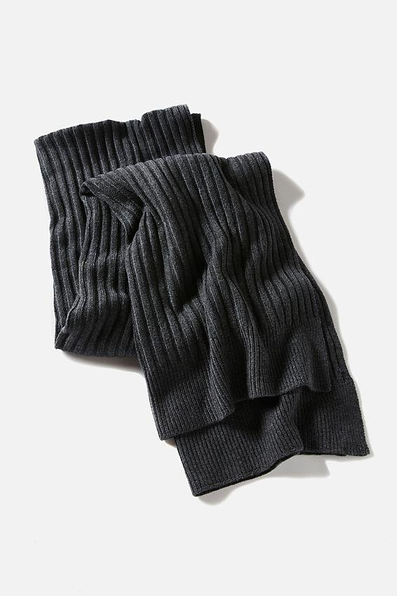 Soft Yarn Scarf, CHARCOAL MARLE