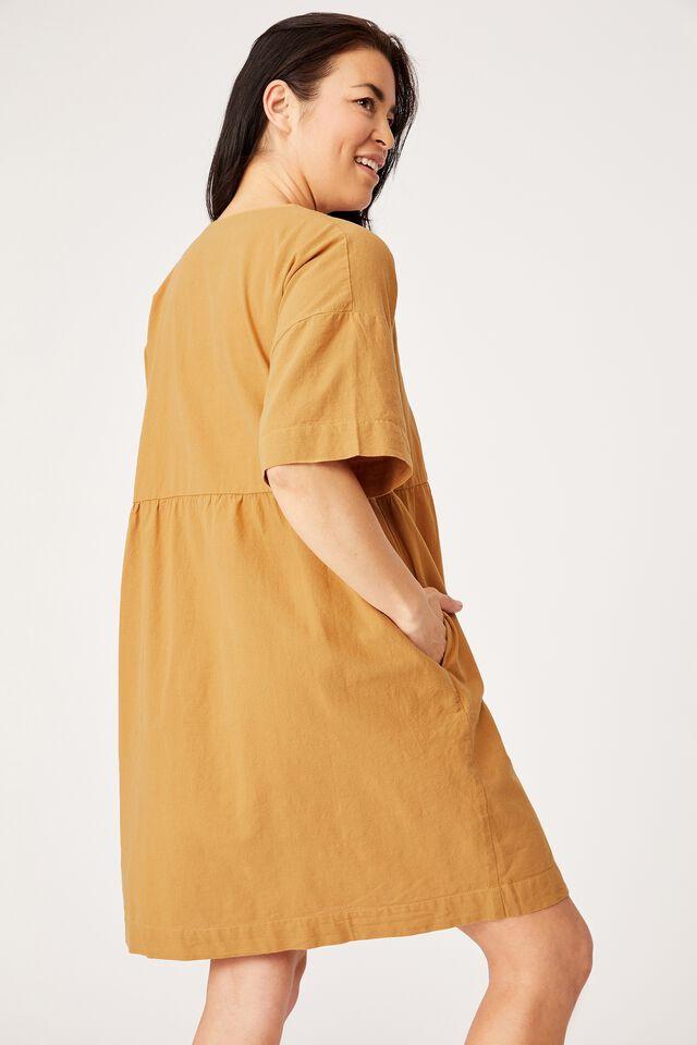 Cotton Babydoll Dress, HONEY GOLD