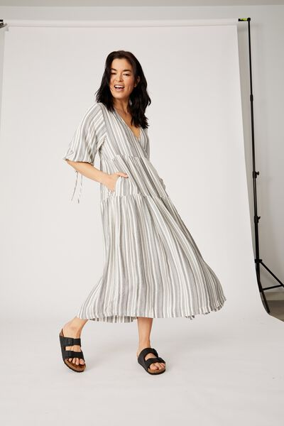 Picnic Wrap Dress, GREY/WHITE STRIPE