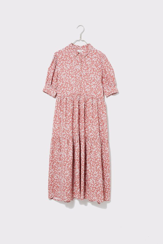 Vineyard Tiered Shirt Dress, CLAY DITSY FLORAL
