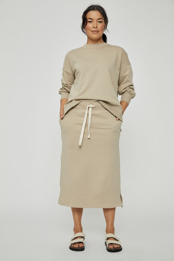 Organic Fleece Midi Tube Skirt, PEBBLE