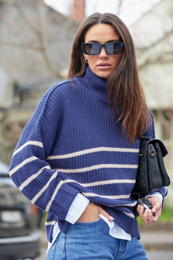 Australian Cotton Oversized High Neck Jumper, ECLIPSE PEBBLE STRIPE