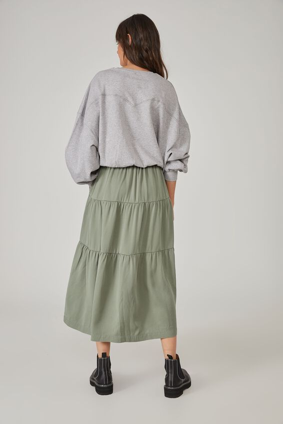 Juniper Tiered Skirt, SOFT OLIVE
