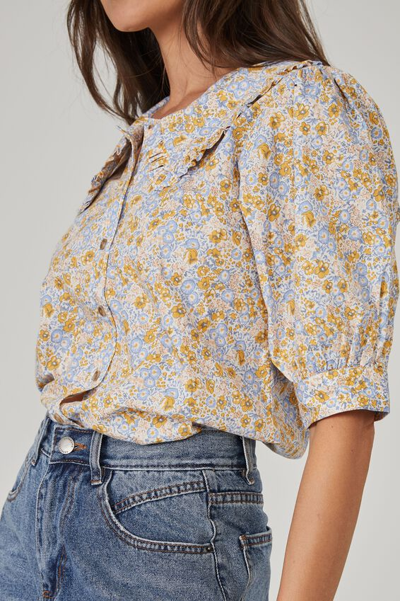 Sloane Frill Collar Short Sleeve Shirt, WHITE CORNFLOWER FLORAL