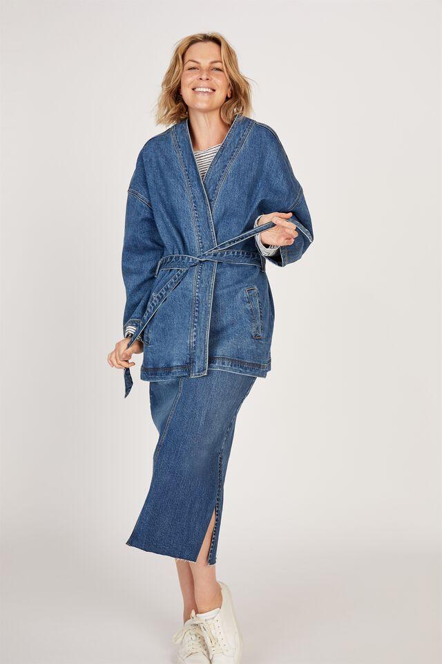Side Split Denim Midi Skirt, CE-INDIGO BLUE