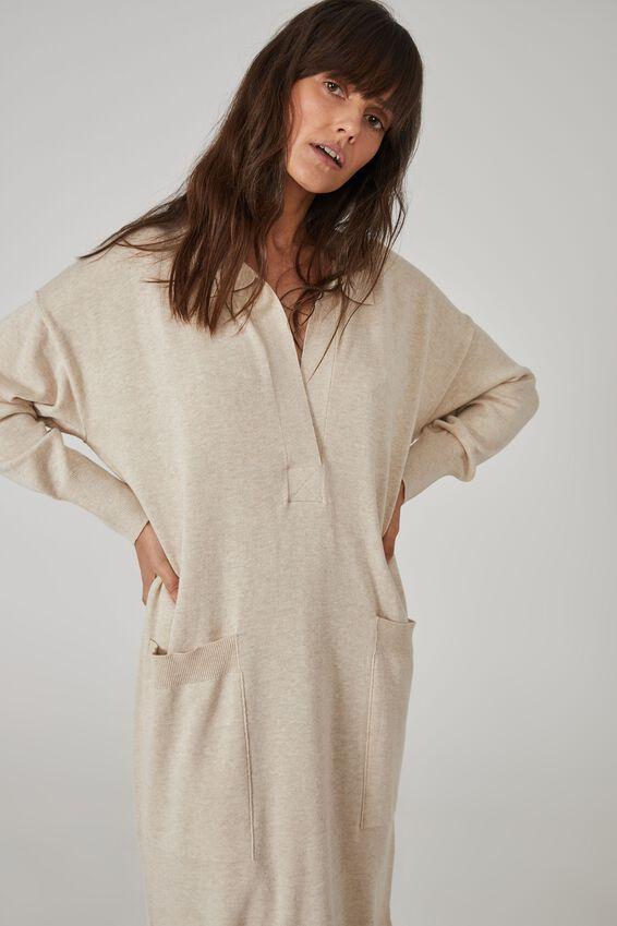 Australian Cotton Knit Slouchy Dress, OATMEAL MARLE