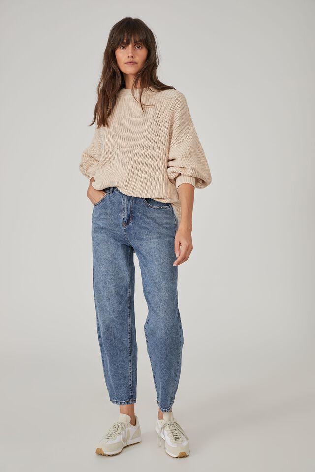 Australian Cotton Oversized Split Hem Jumper, PEBBLE