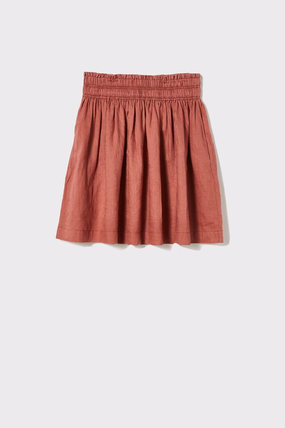 Linen Mini Skirt, RUST