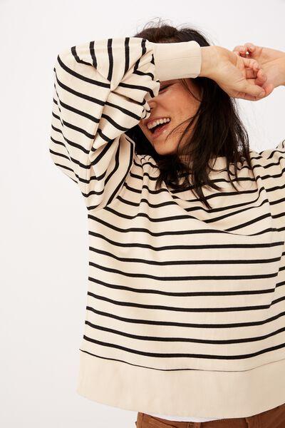 Organic Sunday Sweater, ECRU BLACK STRIPE