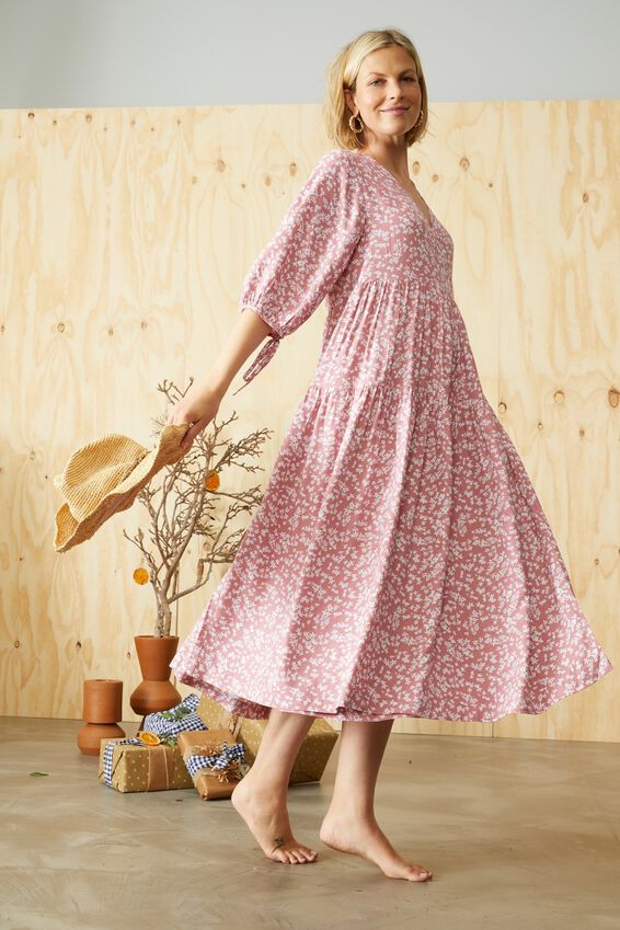 Picnic Wrap Dress, CLAY DTSY FLORAL