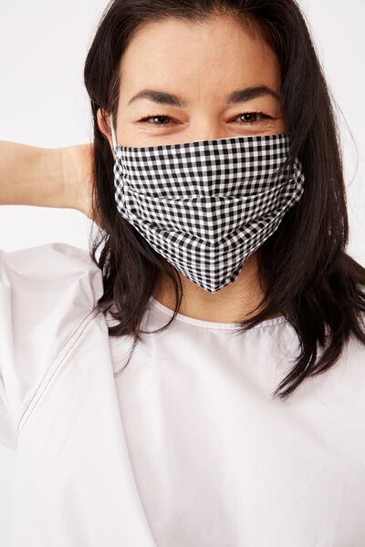 Face Mask, BLACK WHITE GINGHAM CHECK