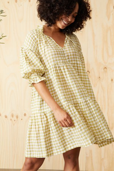 Short Ruffle Tiered Dress, HERB GREEN