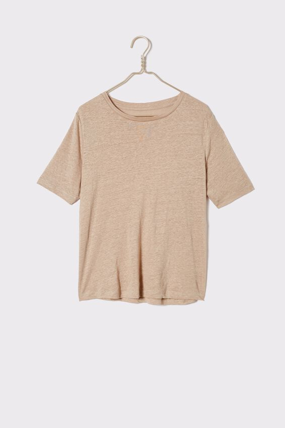 Linen Weekend Tee, PEBBLE